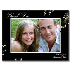 Thank You Photo Wedding Postcard Yellow Floral