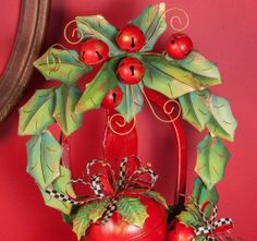 Holly Leaves and Bells Wreath