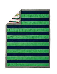 Boys Room Ideas - Green + Blue Rugby Stripe Quilt | Hanna Andersson Home Collection #HannaHome