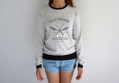 Slytherin Sweatshirt Quidditch Long Sleeve Tshirt Harry Potter Sweater Cute  Nerd Gift JOLLYPEARSHOP.ETSY. 8121171054b92