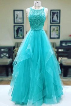 2018 cheap Turquoise tulle long lace prom dress, ruffles evening dress
