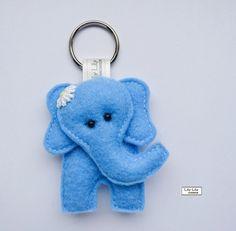 Handmade Elephant Keyring (Blue) - Free delivery £8.50