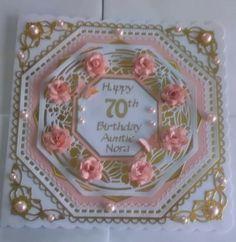 100th Birthday Card, Happy Birthday Cards, Hexagon Cards, Tonic Cards, Sue Wilson, Anna Griffin, Flower Cards, Making Ideas, Handmade Cards