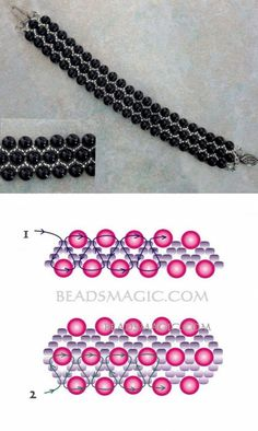 Greatest Seed Bead Jewellery 2017 - Free sample for beaded bracelet Black Pearl - Jewelry Beaded Bracelet Patterns, Beaded Earrings, Beaded Bracelets, Silver Bracelets, Beading Patterns Free, Beading Ideas, Beading Tutorials, Seed Bead Jewelry, Bead Jewellery