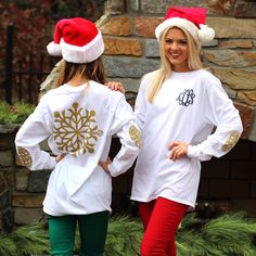 Monogrammed Gold Snowflake Long Sleeve T-Shirt | Marleylilly.com