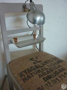 Chevet indus original, chaise/lampe atelier/jute