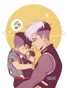 """""""Star boy is a little dreamer. """" I didn't forget Shiro's birthday. I was just planning on celebrating… on the of March. Anyhoo, my two baby boys together. Voltron Comics, Voltron Fanart, Anime Wolf Drawing, Anime Art, Fat Anime Characters, Power Rangers, Character Art, Character Design, Character Ideas"""
