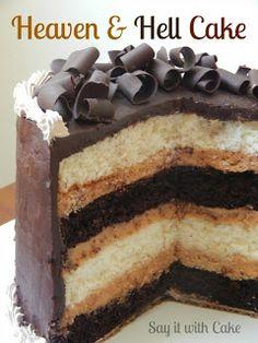 Heaven & Hell Cake | www.shamenesayitwithcake.blogspot.com | #chocolatecake #heavenandhellcake #peanutbuttercake