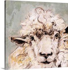 Beautiful drawing / painting of a sheep. Sheep Paintings, Animal Paintings, Animal Drawings, Art Drawings, Watercolor Animals, Watercolor Paintings, Watercolour, Sheep Drawing, Sheep Art