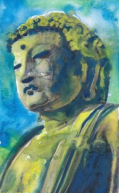 Blue Buddhist Meditation Statue Painting Fine Art Print Reproduction Watercolor