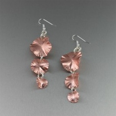 copper earrings - handmade in a beautiful lily pad motif, the 3 tiered lily pads shimmer with stunning sheen.