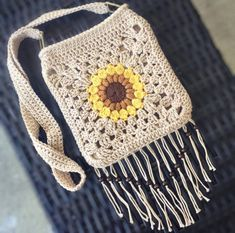 Your place to buy and sell all things handmade Purse Patterns Free, Bag Pattern Free, Crochet Patterns, Granny Pattern, Crochet Handbags, Crochet Purses, Crochet Capas, Granny Square Bag, Crochet Sunflower