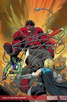 Red Hulk vs Lady Liberators (She-Hulk,Valkyrie and Thundra)(by: Frank Cho) Marvel Comics Art, Marvel Comic Books, Marvel Characters, Comic Books Art, Marvel Avengers, Comic Art, Ms Marvel, Captain Marvel, Red She Hulk