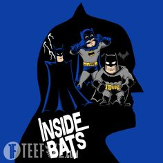 A mashup of different versions of the Dark Knight all swimming around in Batman's head Discount T-shirts. Get it here http://www.teefizz.com/product/inside-bats/
