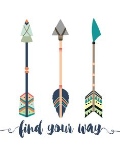 Find Your Way Quote, Colorful Arrows Printable, Tribal Arrows , tribal Wall Art Printable,Arrow Prin