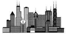 Chicago City Skyline Panorama Black Outline Silhouette Isolated on White Background Illustration photo