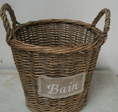 Vintage French Basket with small linen patch by afarmhouseinfrance