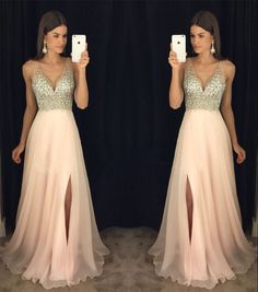 Simple Wedding Dress, New Arrival Prom Dress,Modest Prom Dress,sparkly Crystal Beaded V Neck Open Back Long Chiffon Prom Dresses 2017 Pageant Evening Gowns With Leg Slit AilsaBridal Sparkly Prom Dresses, V Neck Prom Dresses, Prom Dresses 2017, Grad Dresses, Modest Dresses, Ball Dresses, Pretty Dresses, Dress Outfits, Ball Gowns