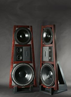 Doors II red oak high end audio audiophile speakers