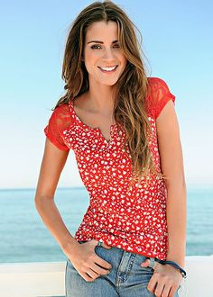 Lace Shoulder Top in Red & White | VENUS