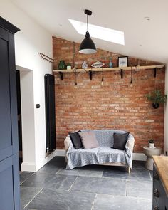 53 Gorgeous Exposed Brick Wall Ideas For Interior Home Design - If your guest room includes a brick wall as one of its architectural features, there are ways of beautifully accessorizing and complementing the overa. House Design, Brick Kitchen, Brick Wall Kitchen, Kitchen Wall Colors, Walls Room, Interior Walls, Kitchen Wall, House Interior, Brick Wall Bedroom