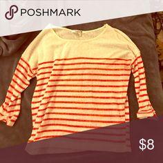 Forever 21 Cream/orange stripe half sleeve Forever 21 Tops Tees - Short Sleeve