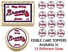 ATLANTA BRAVES Edible Cake Image Cupcake Topper Quarter Half 12 Sheets Sizes Available on Etsy, $8.25