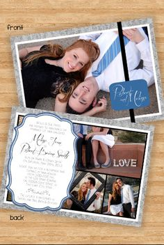 Double Sided Multi-Photo Wedding Invitation Announcement - Blue/Gray. $15.00, via Etsy.