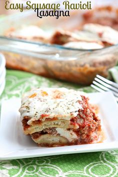 Easy Sausage Ravioli Lasagna Prego instead of canned tomatoes and sauce.