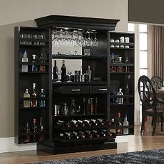 Shop for Ashley Heights Black Stain Home Bar Wine Cabinet. Get free delivery at Overstock - Your Online Furniture Shop! Get in rewards with Club O! Armoire Bar, Home Bar Decor, Vintage Home Decor, Bar Home, Mini Bar At Home, Vintage Bar, Vintage Industrial, Industrial Style, French Vintage