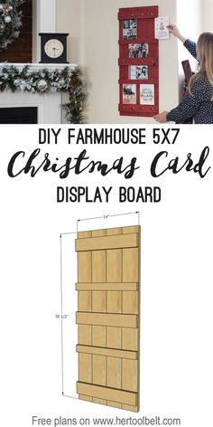 It's that time of year when those beautiful Christmas Cards start arriving in the mail of your favorite loved ones. Today's project will make it easy to display them, it's a photo display board. But you can use this display board all year long to disp Easy Woodworking Projects, Diy Wood Projects, Wood Crafts, Woodworking Plans, Woodworking Workshop, Photo Display Board, Photo Displays, Crafts For Teens To Make, Diy And Crafts