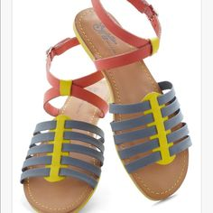 Seychelles sandals Sold out on modcloth...Flip the Switch sandals by Seychelles in blue multi leather. New in box Seychelles Shoes Sandals