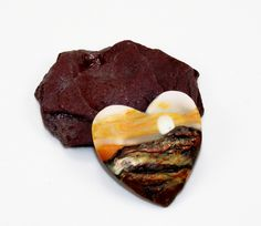 Handmade Polymer Clay Heart Focal 35x38 mm Pendant-In the Clouds-Harvest Moon-Orange Brown Copper-Autumn Focal Bead-PA 8866 by StudioStJames on Etsy