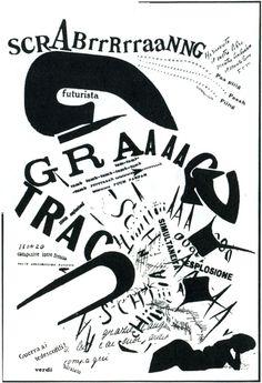 Filippo Tommaso Marinetti | 1919  Futurismo, Composição Tipográfica! Marinetti nasceu em 1913, sua filosofia vivia da destruição de sintasse!