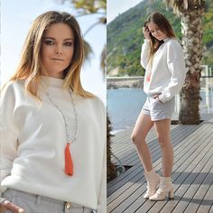 Get this look: http://lb.nu/look/8681181  More looks by Tamara Bellis: http://lb.nu/tamarabellis  Items in this look:  Ego  Bowknot Boots, Mango Shorts, Yesstyle Sweater, Victoria Emerson Mala Prayer Necklace   #casual #chic #street