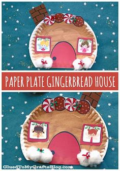 Paper Plate Gingerbread House – Christmas Kid Craft Idea This paper plate gingerbread house craft is sure to be just as sweet as the real deal BUT it's less messy for kids & lasts longer too! Kids Crafts, Preschool Christmas Crafts, Daycare Crafts, Classroom Crafts, Christmas Crafts For Kids, Toddler Crafts, Holiday Crafts, Christmas Paper, Kindergarten Christmas