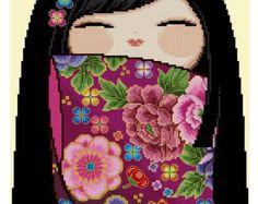 LRG Happy Kokeshi Doll ETSUKO -Cross Stitch PDF Pattern