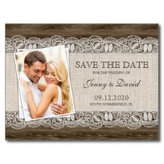 A rustic save the date postcard, featuring an elegant burlap and lace design on brown wood. On the left side of the card is room for your favorite engagement photo.