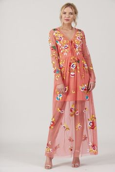 Frock and Frill Coral Embroidered Long Sleeve Maxi Dress Summer Holiday Dresses, Frock And Frill, Festival Dress, Spring Summer 2018, Embroidered Dresses, Sequin Embroidery, Boho Dress, Frocks, Coral