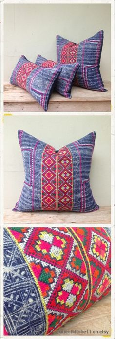 vintage ethnic textile hemp batik embroidered decorative throw pillow case.