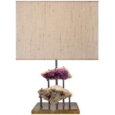 French Bronze and Steel Lamp with Amethyst and Crystal Clusters | From a unique collection of antique and modern table lamps at http://www.1stdibs.com/lighting/table-lamps/