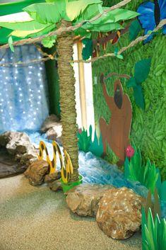 Decor idea for a jungle safari party Rainforest Classroom, Jungle Theme Classroom, Rainforest Theme, Classroom Themes, Jungle Theme Decorations, Hawaiian Party Decorations, Safari Theme, Jungle Safari, Jungle Animals