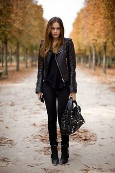 all black / #fall #fashion #outfits #style #leather #jacket