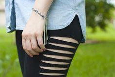Celebrity Inspired: DIY Slashed Leggings | Sprinkles in Springs