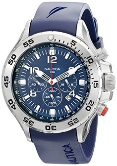 Men s Wrist Watches - Nautica Mens N14555G NST Stainless Steel Watch with  Blue Resin Band   03619c4be49