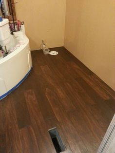 Plywood Floor Stained With General Finishes Antique Walnut More Pics When Completed