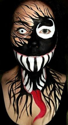 awesome halloween makeup of venom from spiderman