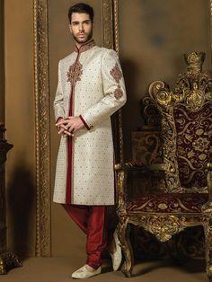 Кремовый индийский свадебный мужской костюм, украшенный вышивкой люрексом со стразами, бисером, бусинками