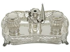 Sterling Silver Gallery Inkstand by William Hutton & Sons - Antique Victorian (1900)