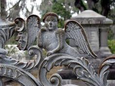 Detail of gate, angel, Bonaventure Cemetery, Savannah, GA
